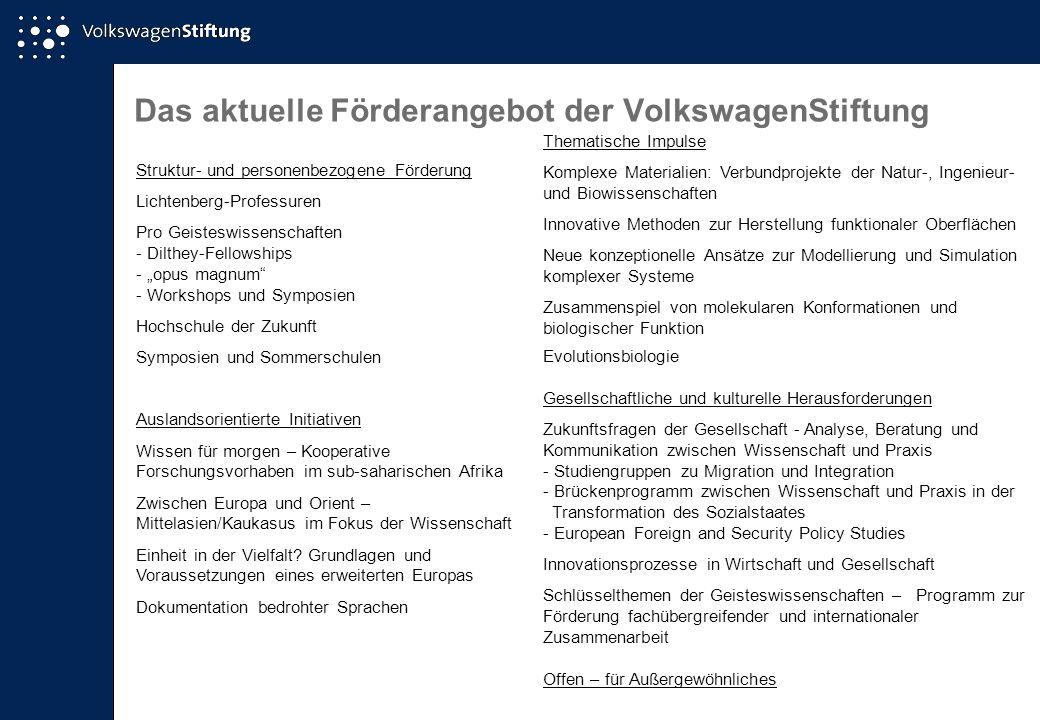 Das aktuelle Förderangebot der VolkswagenStiftung