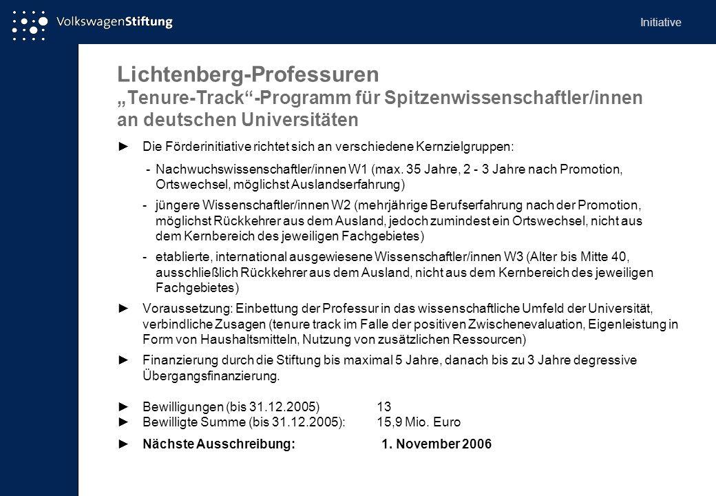 """Initiative Lichtenberg-Professuren """"Tenure-Track -Programm für Spitzenwissenschaftler/innen an deutschen Universitäten."""