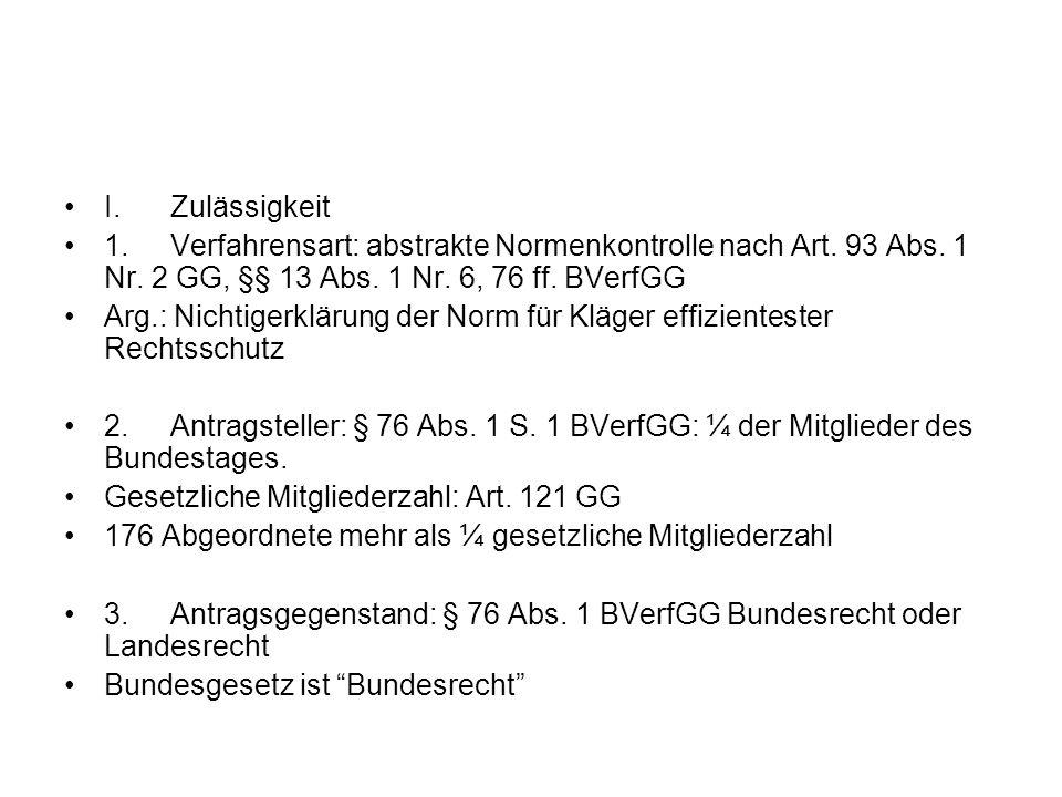 I. Zulässigkeit 1. Verfahrensart: abstrakte Normenkontrolle nach Art. 93 Abs. 1 Nr. 2 GG, §§ 13 Abs. 1 Nr. 6, 76 ff. BVerfGG.