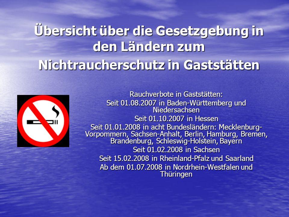 Übersicht über die Gesetzgebung in den Ländern zum Nichtraucherschutz in Gaststätten