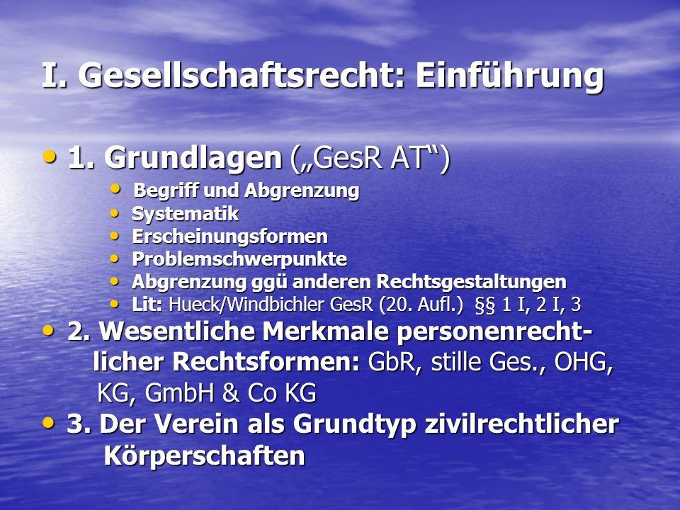 I. Gesellschaftsrecht: Einführung