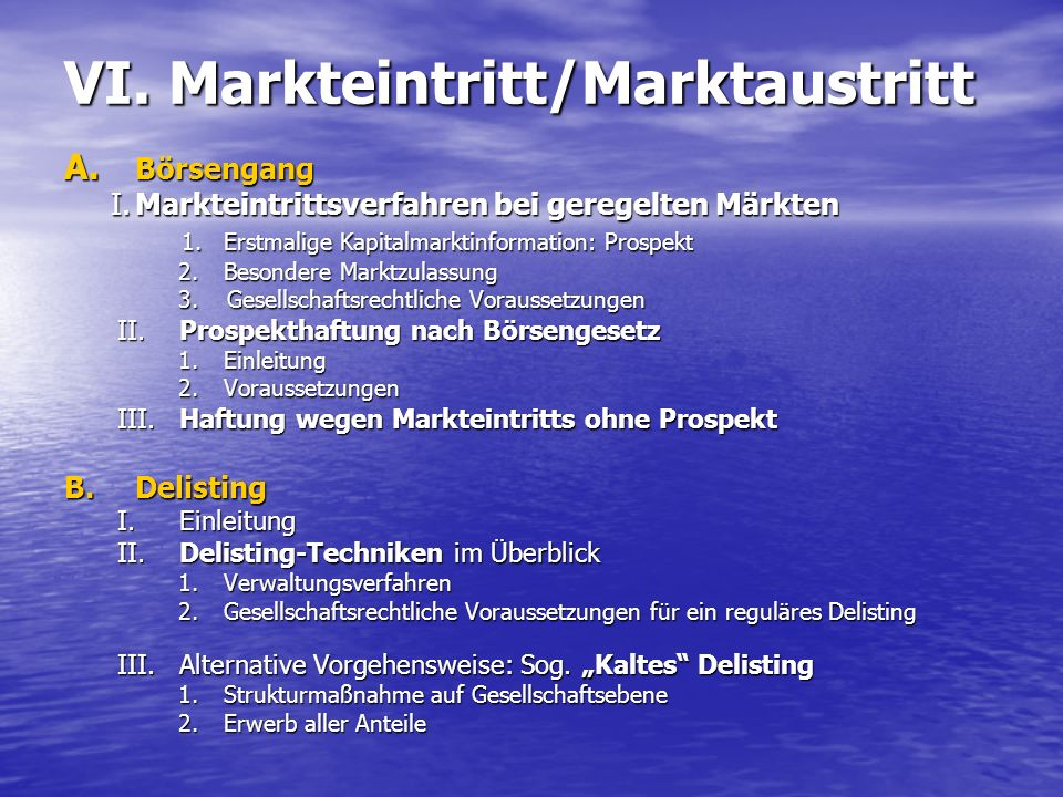 VI. Markteintritt/Marktaustritt