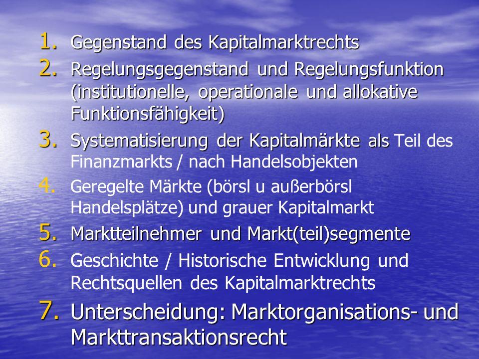 Unterscheidung: Marktorganisations- und Markttransaktionsrecht