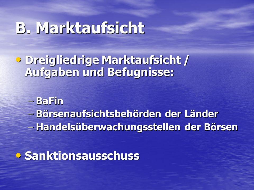 B. Marktaufsicht Dreigliedrige Marktaufsicht / Aufgaben und Befugnisse: BaFin. Börsenaufsichtsbehörden der Länder.