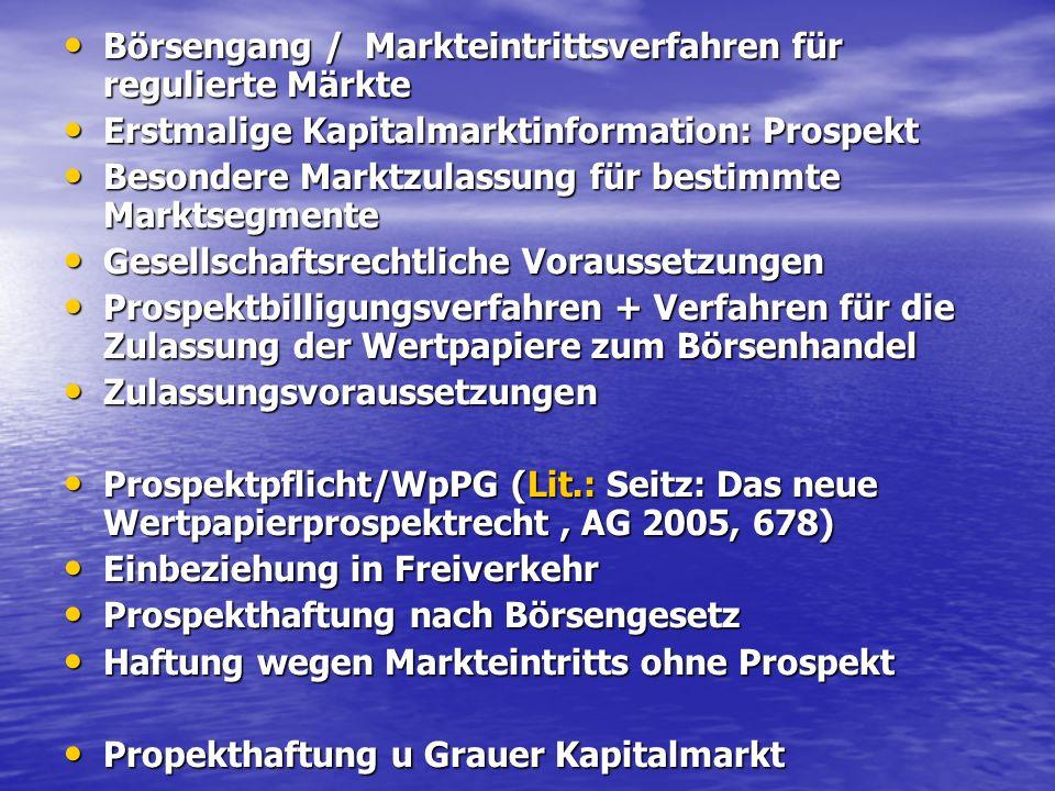 Börsengang / Markteintrittsverfahren für regulierte Märkte