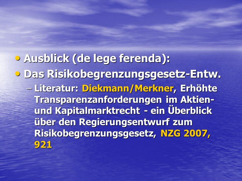 Ausblick (de lege ferenda): Das Risikobegrenzungsgesetz-Entw.