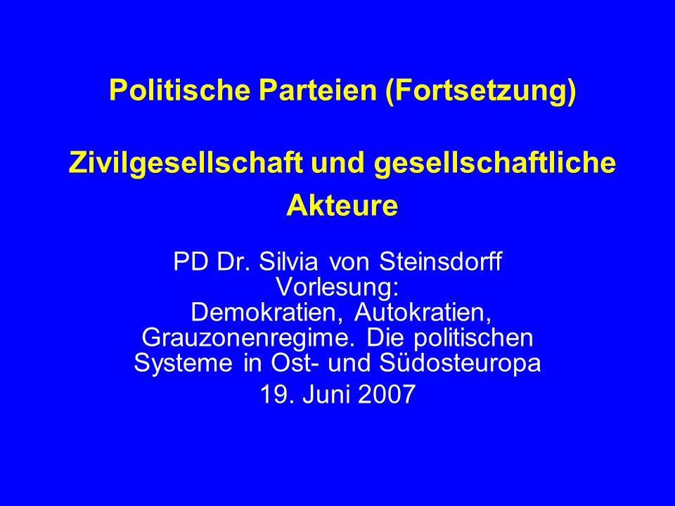 Politische Parteien (Fortsetzung) Zivilgesellschaft und gesellschaftliche Akteure