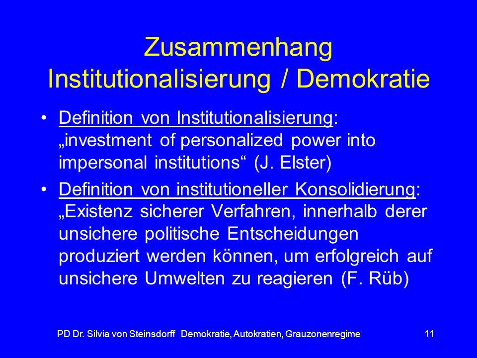 Zusammenhang Institutionalisierung / Demokratie