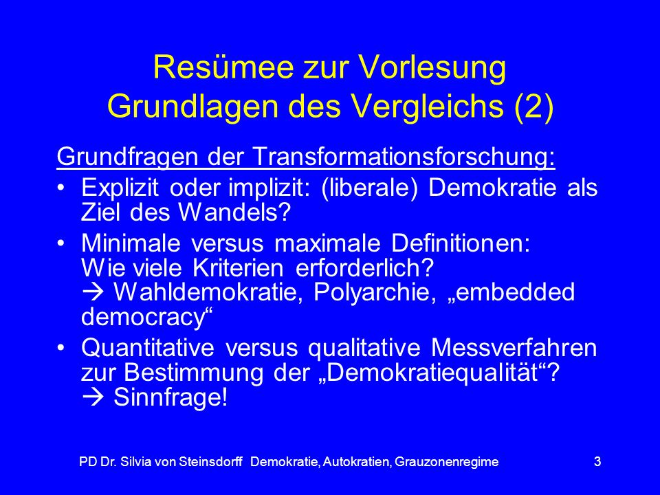 Resümee zur Vorlesung Grundlagen des Vergleichs (2)