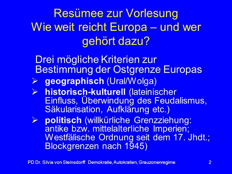 Resümee zur Vorlesung Wie weit reicht Europa – und wer gehört dazu
