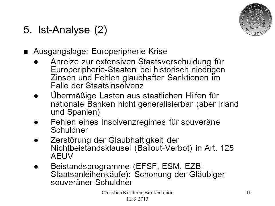 Christian Kirchner, Bankenunion 12.3.2013