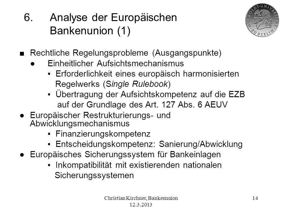 6. Analyse der Europäischen Bankenunion (1)