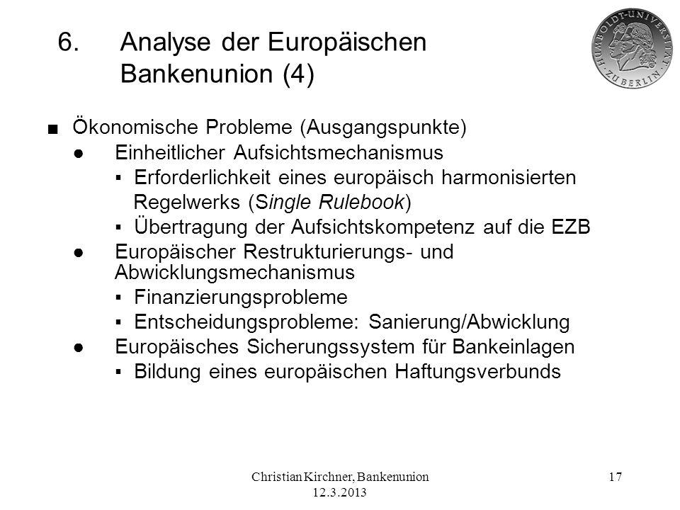 6. Analyse der Europäischen Bankenunion (4)