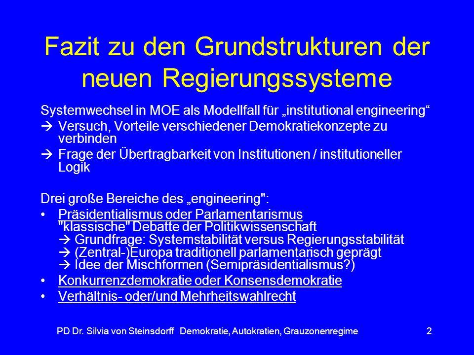 Fazit zu den Grundstrukturen der neuen Regierungssysteme