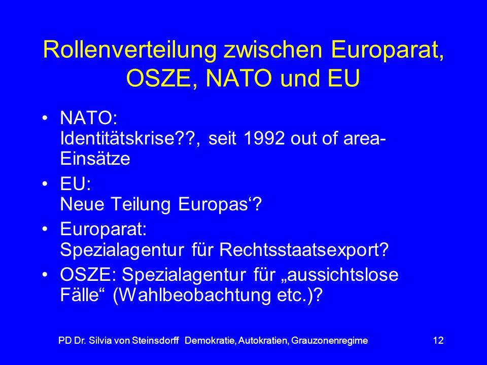 Rollenverteilung zwischen Europarat, OSZE, NATO und EU