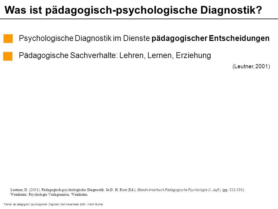 Was ist pädagogisch-psychologische Diagnostik