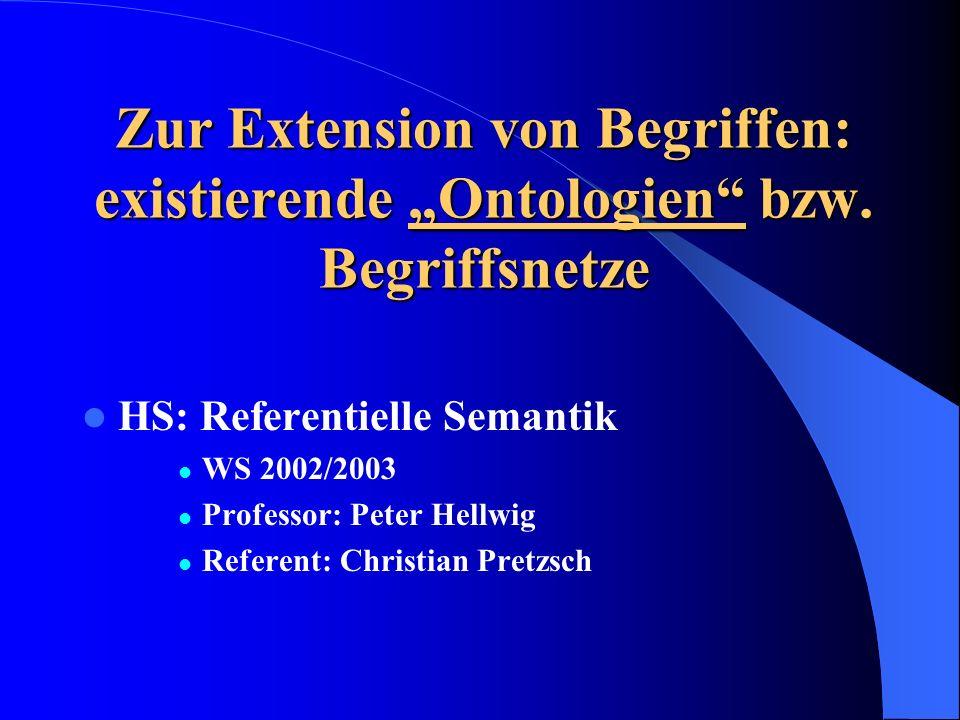 """Zur Extension von Begriffen: existierende """"Ontologien bzw"""