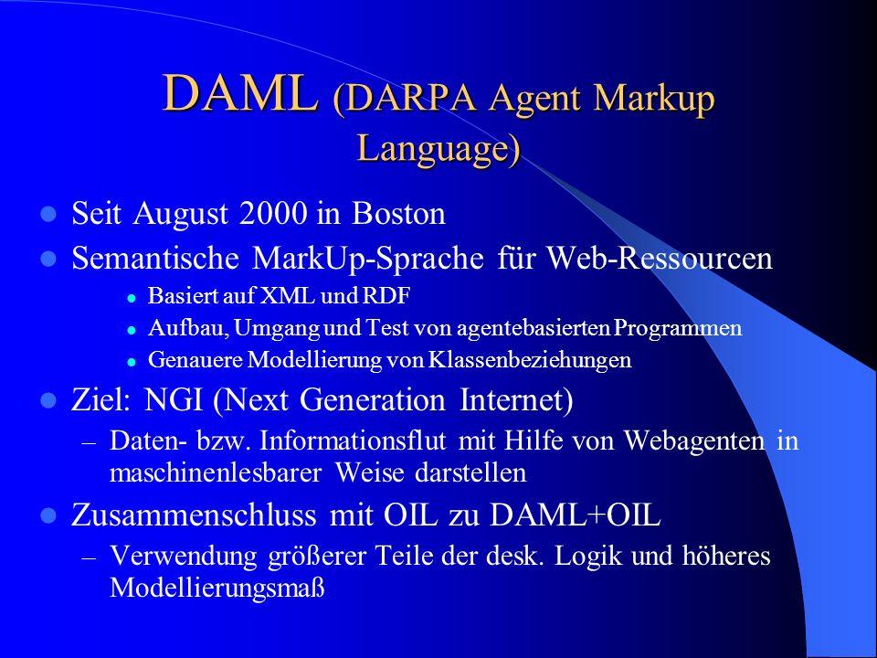 DAML (DARPA Agent Markup Language)