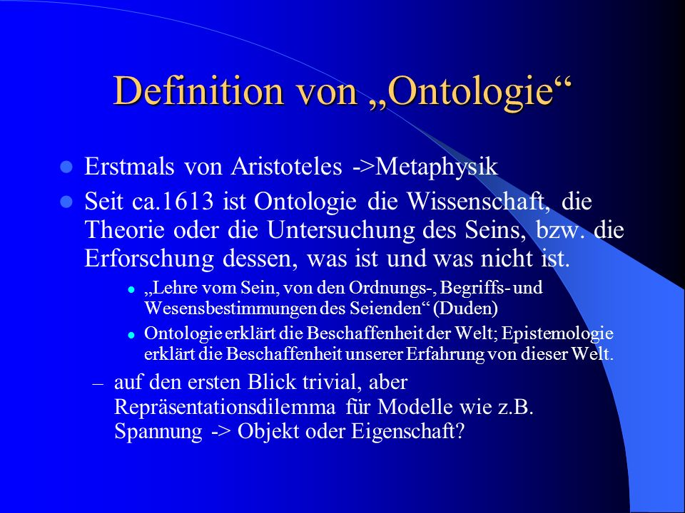 "Definition von ""Ontologie"