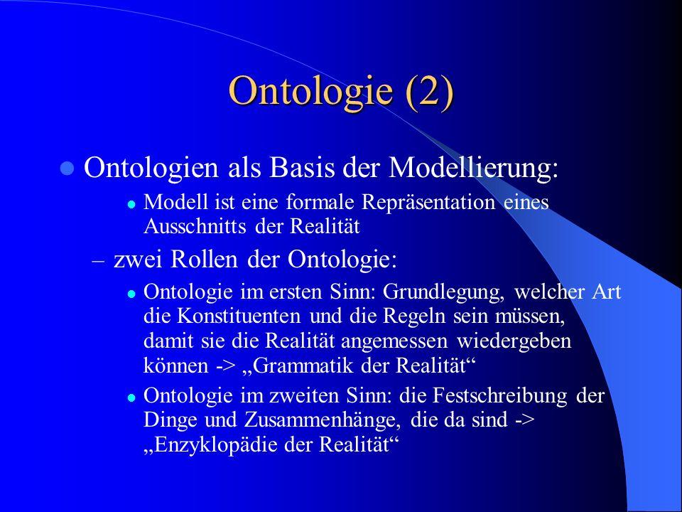 Ontologie (2) Ontologien als Basis der Modellierung:
