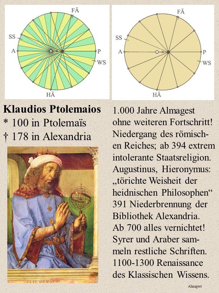 Klaudios Ptolemaios * 100 in Ptolemaïs † 178 in Alexandria