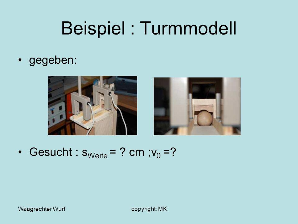 Beispiel : Turmmodell gegeben: Gesucht : sWeite = cm ;v0 =