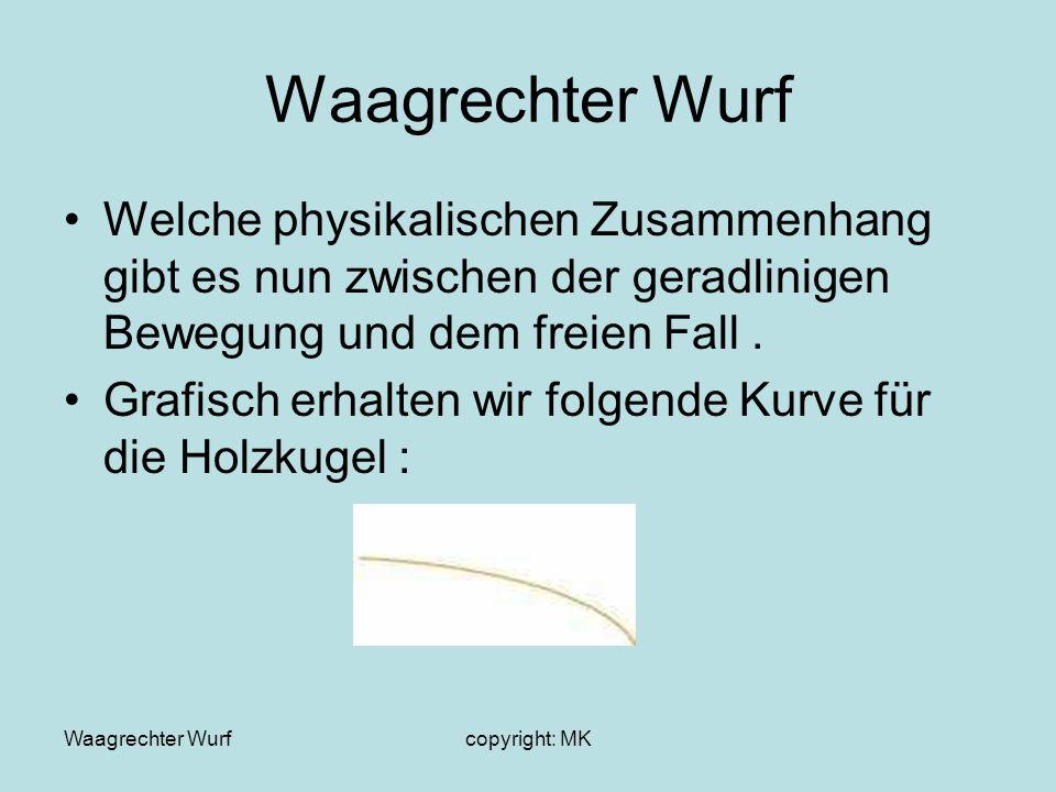 Waagrechter Wurf Welche physikalischen Zusammenhang gibt es nun zwischen der geradlinigen Bewegung und dem freien Fall .