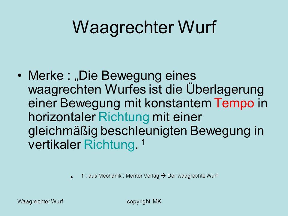 1 : aus Mechanik : Mentor Verlag  Der waagrechte Wurf