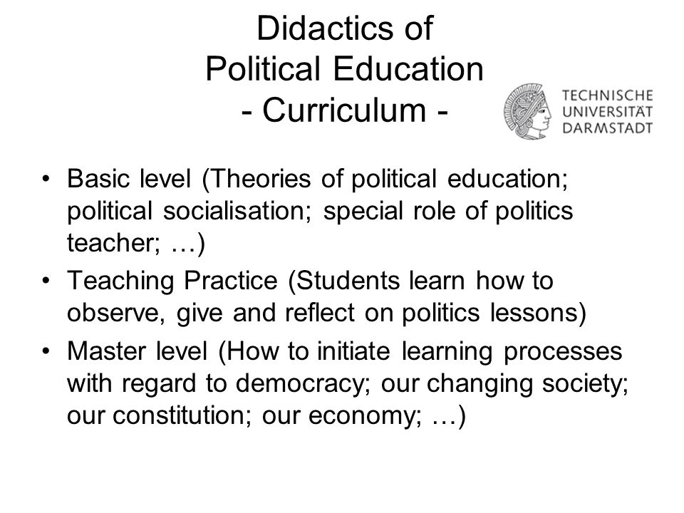 Didactics of Political Education - Curriculum -