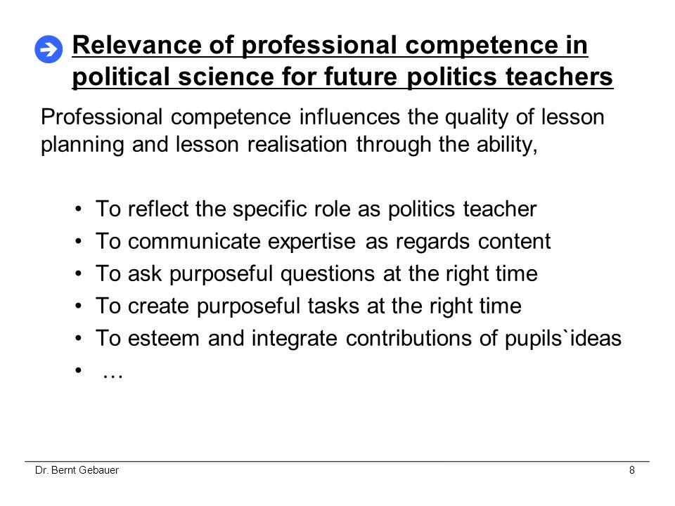Relevance of professional competence in political science for future politics teachers