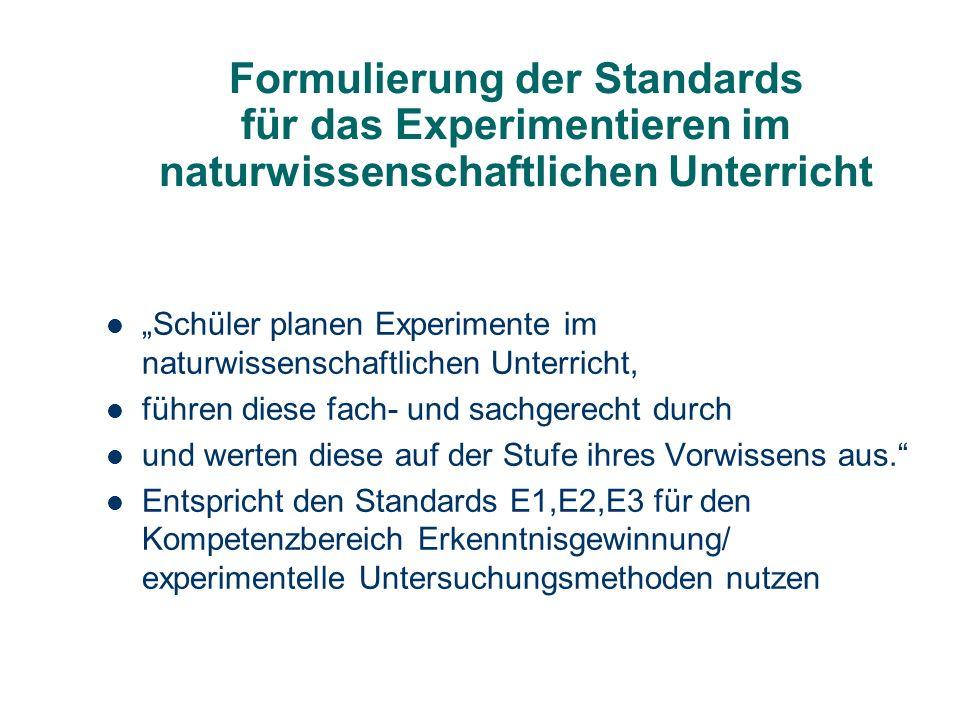 Formulierung der Standards für das Experimentieren im naturwissenschaftlichen Unterricht