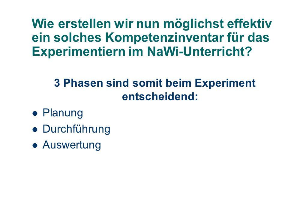 3 Phasen sind somit beim Experiment entscheidend: