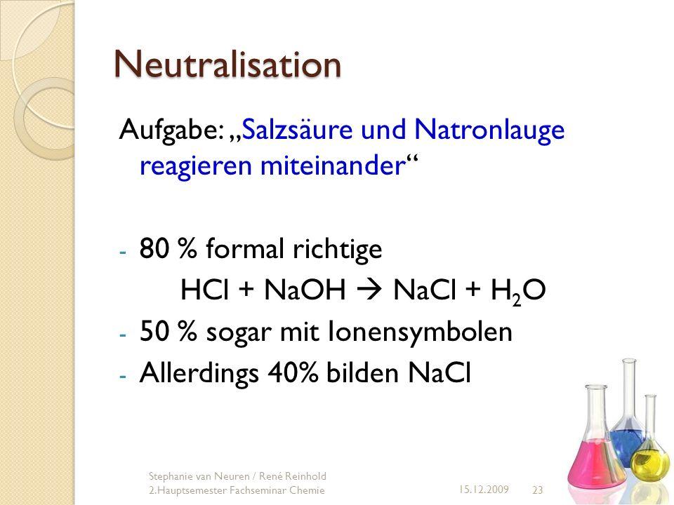"""Neutralisation Aufgabe: """"Salzsäure und Natronlauge reagieren miteinander 80 % formal richtige. HCl + NaOH  NaCl + H2O."""