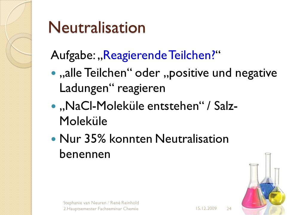 """Neutralisation Aufgabe: """"Reagierende Teilchen"""