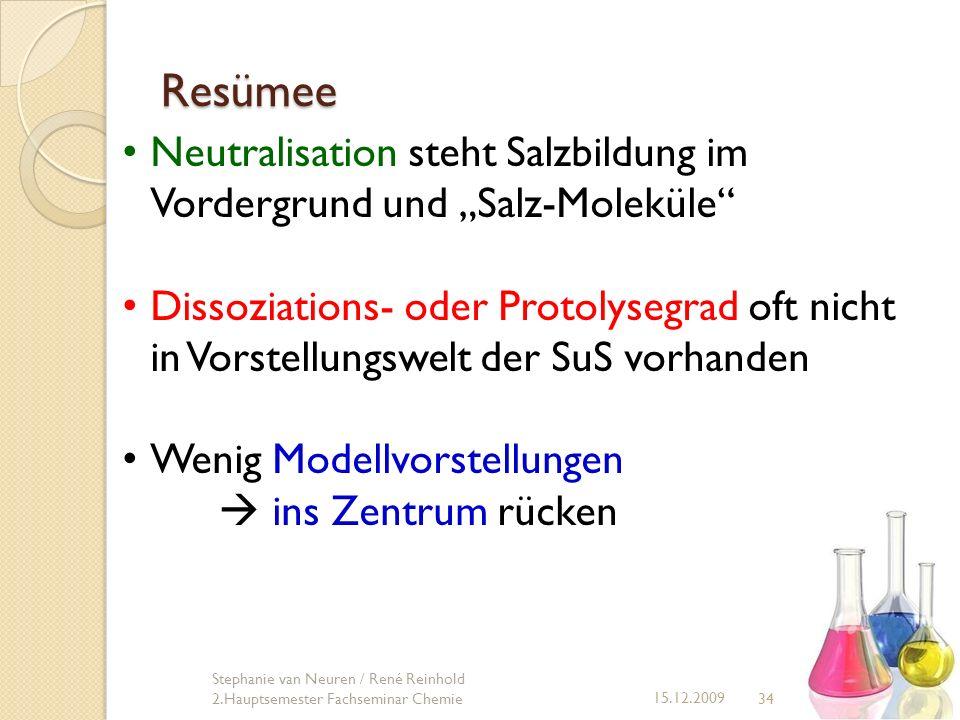 """Resümee Neutralisation steht Salzbildung im Vordergrund und """"Salz-Moleküle"""