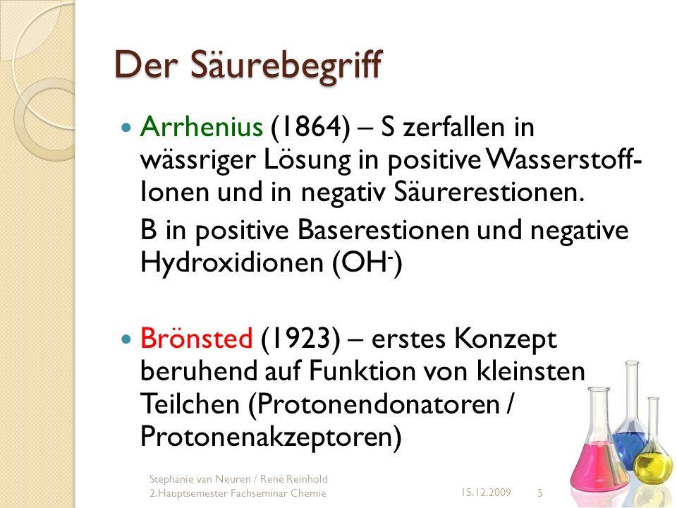 Der Säurebegriff Arrhenius (1864) – S zerfallen in wässriger Lösung in positive Wasserstoff- Ionen und in negativ Säurerestionen.