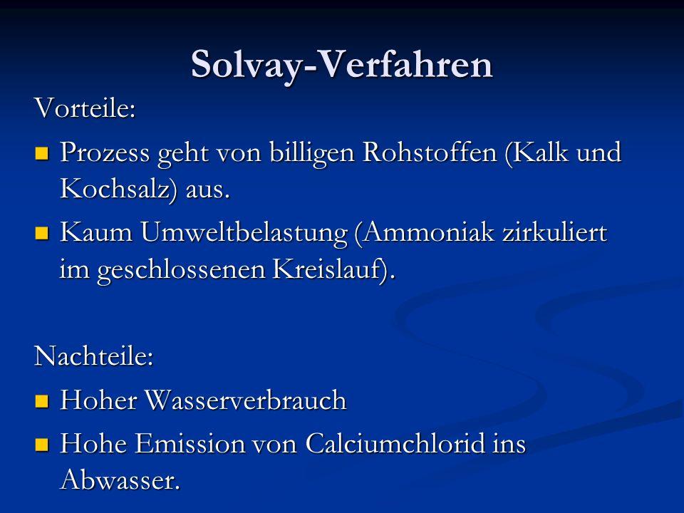 Solvay-Verfahren Vorteile: