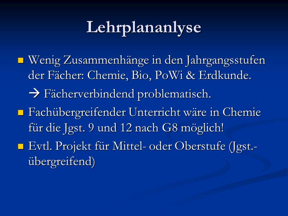 Lehrplananlyse Wenig Zusammenhänge in den Jahrgangsstufen der Fächer: Chemie, Bio, PoWi & Erdkunde.