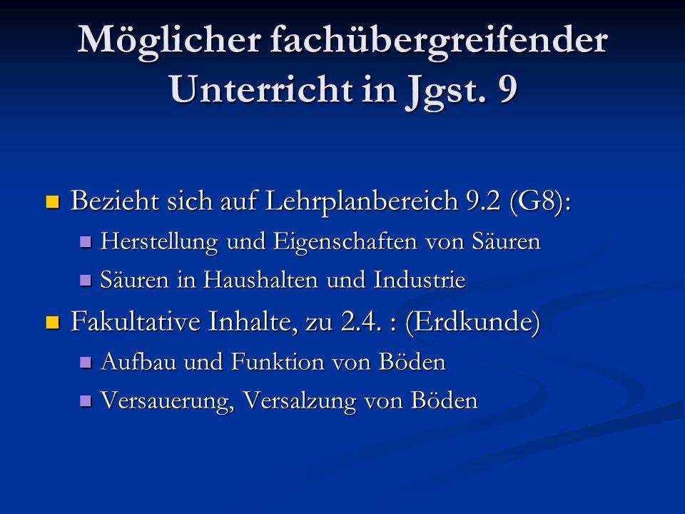 Möglicher fachübergreifender Unterricht in Jgst. 9