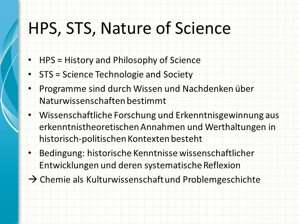 HPS, STS, Nature of Science