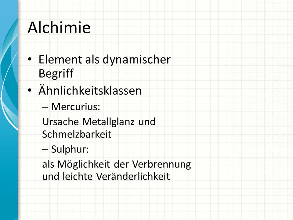 Alchimie Element als dynamischer Begriff Ähnlichkeitsklassen