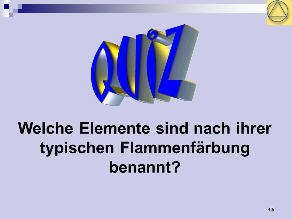 Welche Elemente sind nach ihrer typischen Flammenfärbung benannt