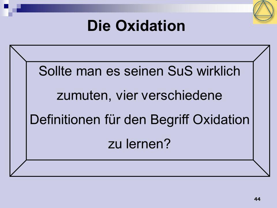 Die Oxidation Sollte man es seinen SuS wirklich zumuten, vier verschiedene Definitionen für den Begriff Oxidation zu lernen