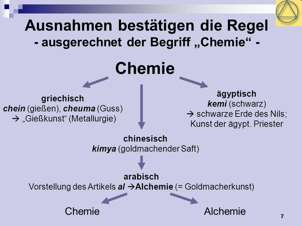 """Ausnahmen bestätigen die Regel - ausgerechnet der Begriff """"Chemie -"""