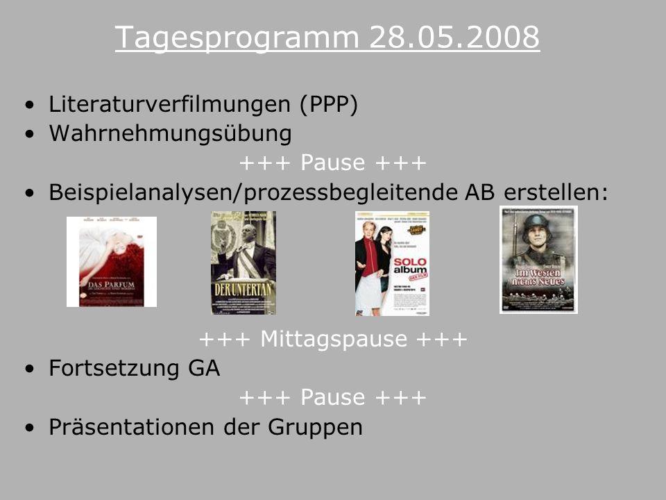 Tagesprogramm 28.05.2008 Literaturverfilmungen (PPP) Wahrnehmungsübung