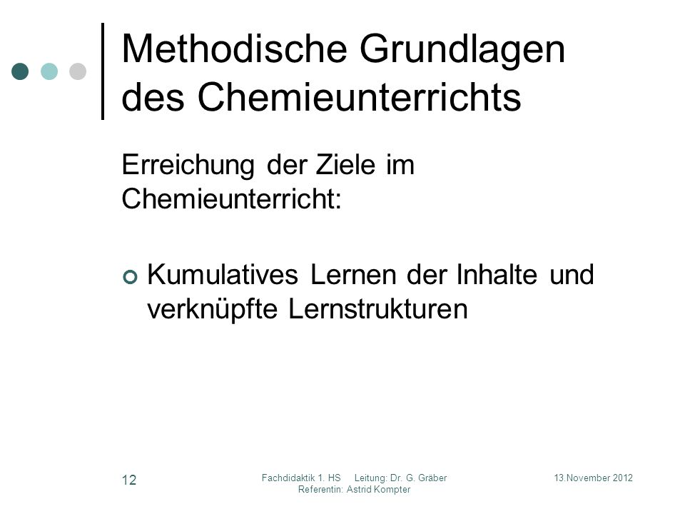Methodische Grundlagen des Chemieunterrichts