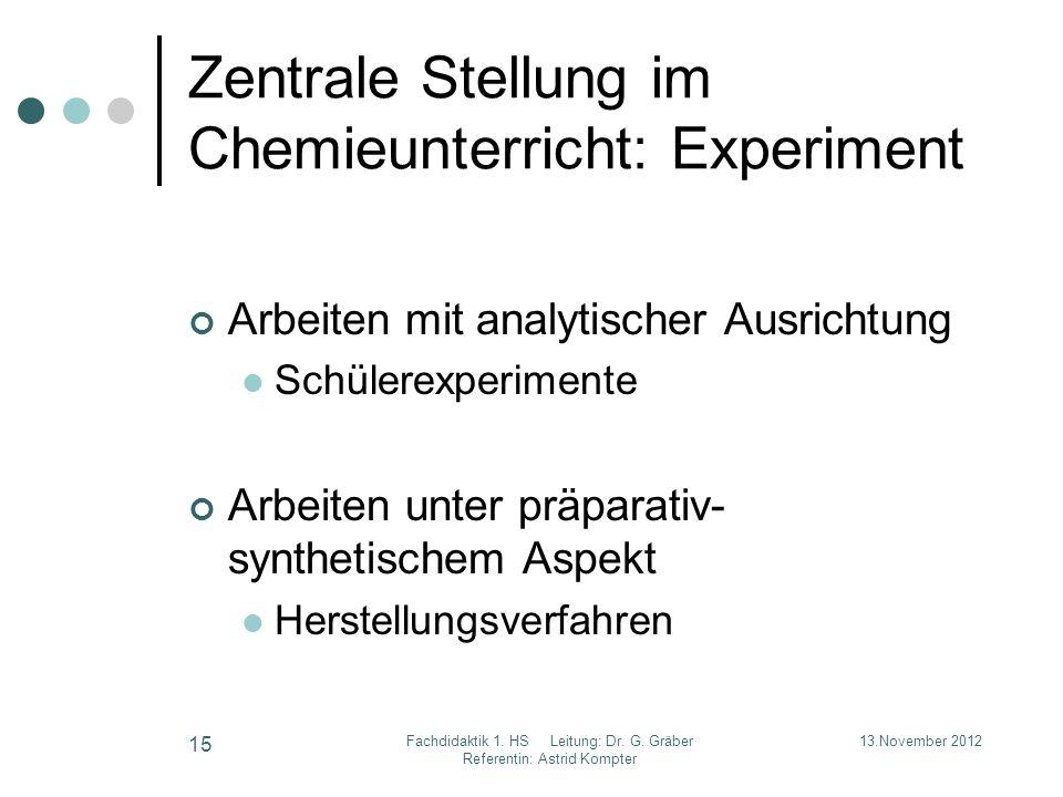 Zentrale Stellung im Chemieunterricht: Experiment