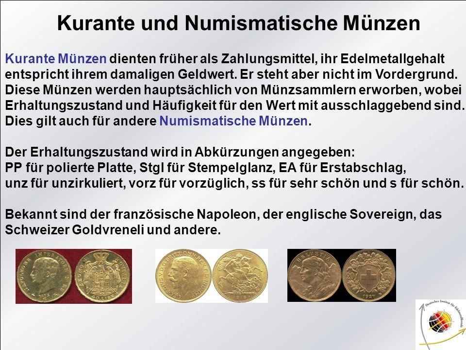 Kurante und Numismatische Münzen