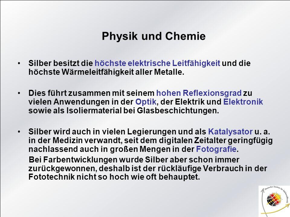 Physik und ChemieSilber besitzt die höchste elektrische Leitfähigkeit und die höchste Wärmeleitfähigkeit aller Metalle.