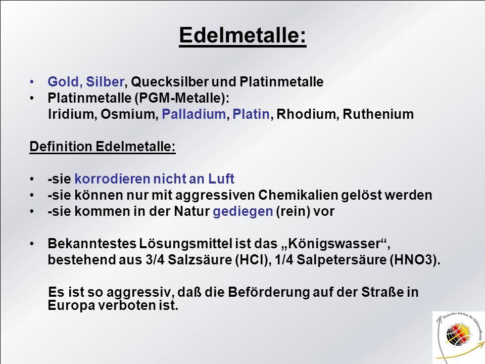 Edelmetalle: Gold, Silber, Quecksilber und Platinmetalle
